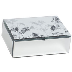 Mirrored-Glass Jewelry Box with Botanical Design