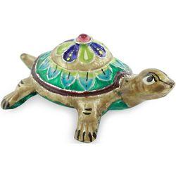 Handsome Turtle Meenakari Enamel on Sterling Silver Figurine