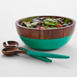 Emerald Green Wooden Serving Bowl and Utensils