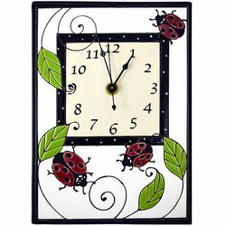 Ladybugs Handmade Ceramic Wall Clock