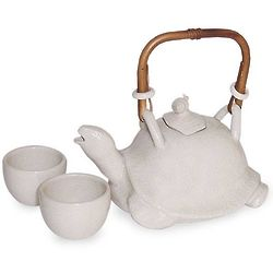 Turtle and Snail Stoneware Tea Set for 2