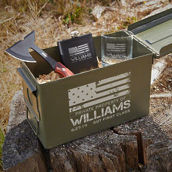 Personalized American Heroes Hatchet and Bullet Box Gift Set