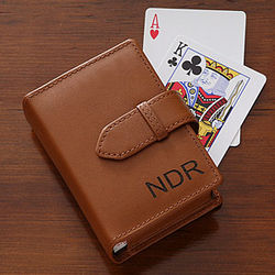 Double Deck Leather Playing Card Case
