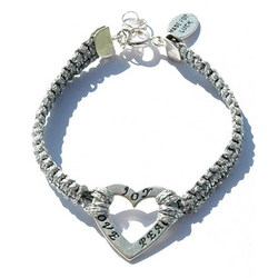 Peace, Love & Joy Heart Silver Bracelet