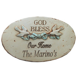 Personalized God Bless Our Home Plaque