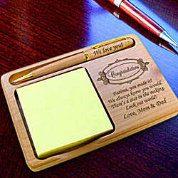 Personalized Congratulations Wooden Notepad & Pen Holder