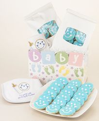 Baby Boy Gift Basket Mini Cookies and Bib