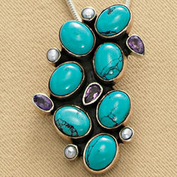 Bejeweled Turquoise Pendant