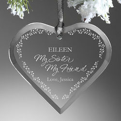 My Sister, My Friend Personalized Heart Ornament