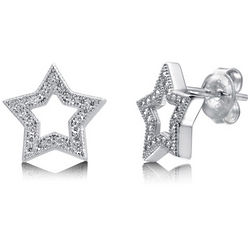 Cubic Zirconia Sterling Silver Open Star Stud Earrings