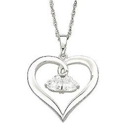Sterling Silver Couple's Birthstone Hearts Necklace