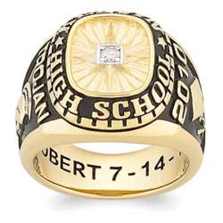 Men's 18K Gold Over Sterling Diamond Traditional Class Ring