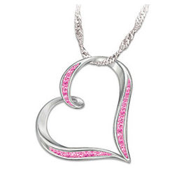 Breast Cancer Support Heart Crystal Pendant