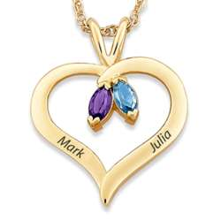 Couple's Name and Marquise Birthstone Heart Necklace