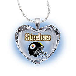 NFL Pittsburgh Steelers Crystal Heart Pendant Necklace