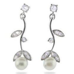 Sterling Silver CZ Vine Earrings with Freshwater Pearls