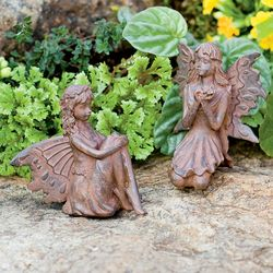 2 Miniature Fairy Garden Sculptures