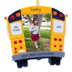 Personalized School Bus Frame Christmas Ornament