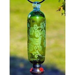 Green Filigree Glass Hummingbird Feeder