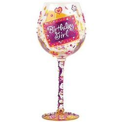 Birthday Girl Super Bling Wine Glass