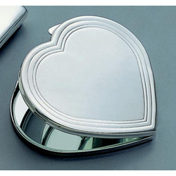 Silver-Plated Heart Shaped Mirrored Compact