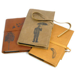 Classic Leather Refillable Writer's Journal with Wood Bookmark