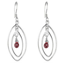 Garnet Briolette Earrings in Sterling Silver