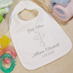 God Bless Personalized Christening Baby Bib