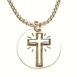 We Live By Faith Cross Token Necklace