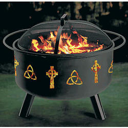 Celtic Design Fire Pit and Grill Combination