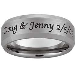 Mens Top-Engraved Tungsten Satin Beveled Edge Band