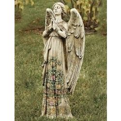 Standing Garden Angel with Floral Trim