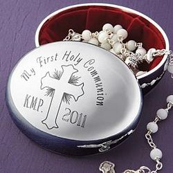 Personalized Silver Plated Rosary Case