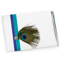 Peacock Guest Book and Pen Set