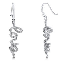 Cubic Zirconia Sterling Silver Love Dangle Earrings