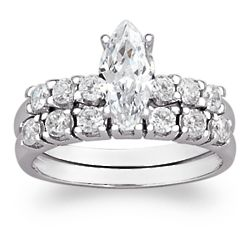 Sterling Silver Marquise and Round Cubic Zirconia Wedding Ring