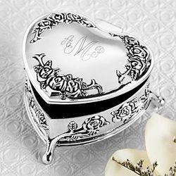 Personalized Silver Heart Trinket Box