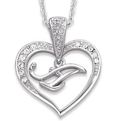 Rhodium Plated Crystal Heart A Initial Necklace