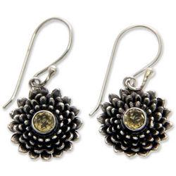 Citrine Chrysanthemum Flower Earrings