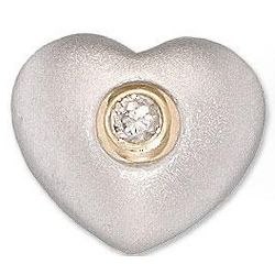 14k Two-Tone Gold Rose Solitaire Diamond Heart Pendant