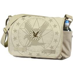 Vintage Khaki Messenger Bag with Exploded Army Eagle Print