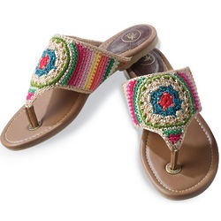 Crocheted Thong Sandals