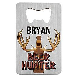 Beer Hunter Personalized Wallet Bottle Opener