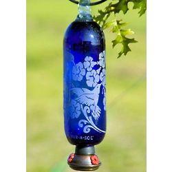 Blue Filigree Glass Hummingbird Feeder