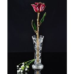 24K Gold Trimmed Abracadabra Rose with Crystal Vase