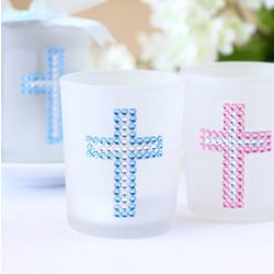 Cross Rhinestones Tea Light Candle Favors