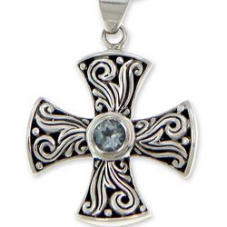 Light of Faith Blue Topaz Cross Necklace