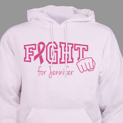 Personalized Fight Cancer Pink Ribbon Hooded Sweatshirt