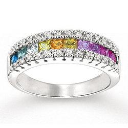 14k White Gold Rainbow Gemstone 1/6 Carat Diamond Ring