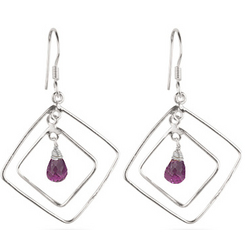 Amethyst Briolette Earrings in Sterling Silver